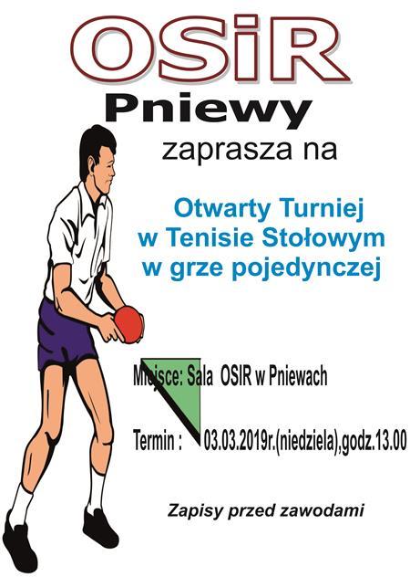 Otwarty turniej tenisa stołowego – 3 marca (niedziela)
